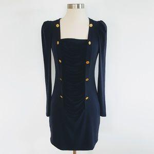 Allen B. Schwartz ABS | Nautical Ruched Navy Dress